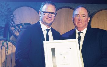 Hawkins' Peter McCawe with PMG founder Denis McMahon