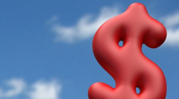 A red ballon shaped as a dollar symbol. inflation concept.
